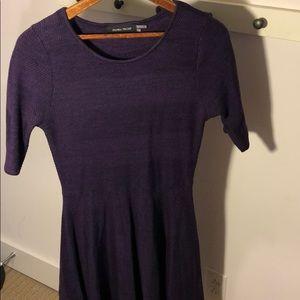 Purple below knee sweater dress
